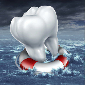 illustration of a tooth in a life raft surrounded by water